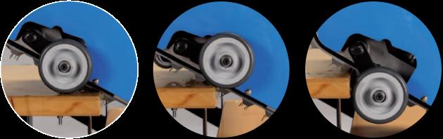 Автоматични колела - винаги в готовност - които автоматично се нагласяват към неравностите  по време на движение и улесняват функционирането върху равна повърхност.